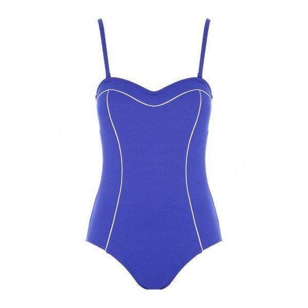 Womens Blue Bandeau Swimsuit ($26) ❤ liked on Polyvore featuring swimwear, one-piece swimsuits, bandeau top swimsuit, bandeau swimsuits, bandeau swimwear, bandeau bikini tops and bandeau top bathing suits