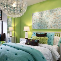 Cool tween girl room. I really like the lime green with turquoise colours together. For O's room.