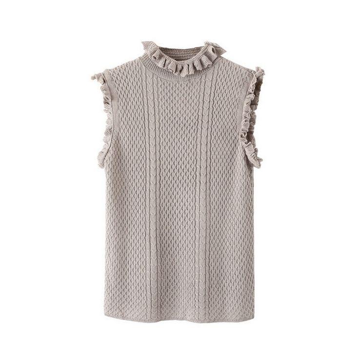Женская мода водолазка без рукавов вязаный пуловер эластичный сладкий свитера…