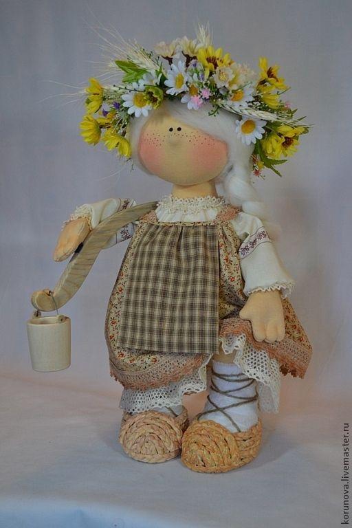 Купить Варвара - бежевый, коричневый цвет, интерьерная кукла, авторская ручная работа