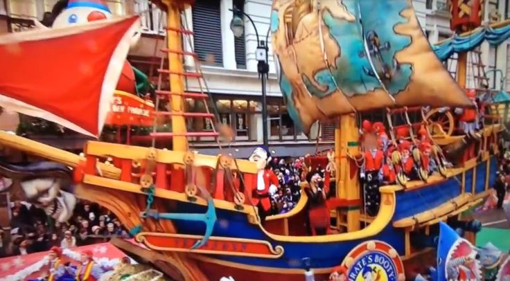 2014 Sabrina Carpenter sings from pirate ship float in Macy's Thanksgiving Day Parade @ NYC