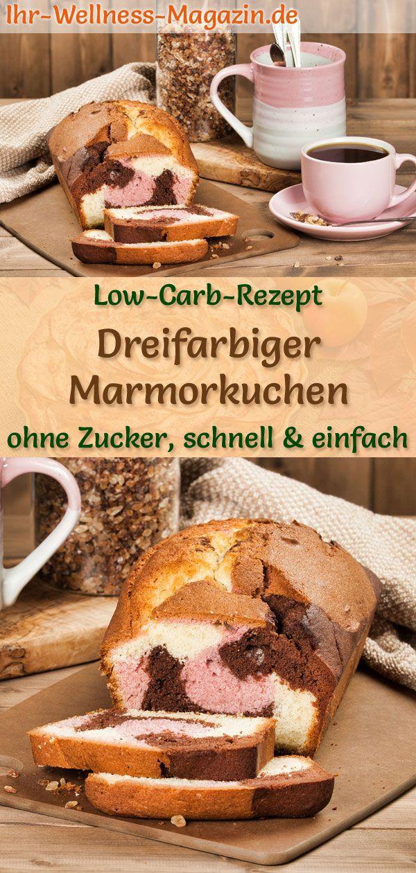 Dreifarbiger Low Carb Marmorkuchen Einfaches Rezept Ohne Zucker Ruhrkuchen Rezept Marmorkuchen Low Carb Rezepte