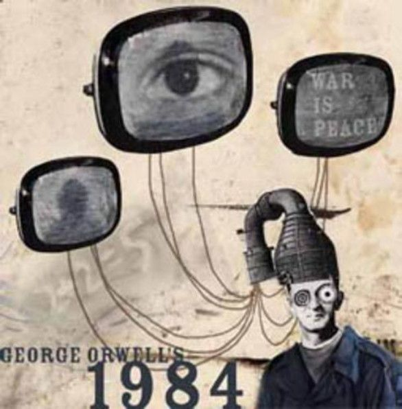 A weird little book cover for 1984 which shows how the Party was always connected to the people's heads and always could see what they were thinking.