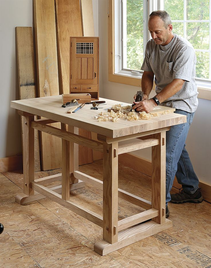 A Small, Sturdy Workbench: This workbench design by Eric Tan, who specializes in Ming dynasty furniture, incorporates interlocking joinery to create strong, rigid construction without the need for glue or hardware. There are 28 …