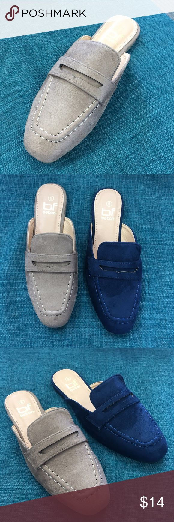 Beige suede loafer slide Beige suede slip on loafer. Also in navy. Runs true to size. Also in navy. Price is final. Shoes Flats & Loafers