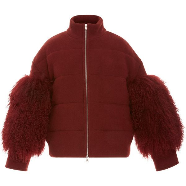 Cropped Puffer Coat With Shearling  | Moda Operandi (104.013.160 VND) ❤ liked on Polyvore featuring outerwear, coats, sally lapointe, red puffer coat, leather-sleeve coats, red puffy coat, shearling coat and puffer coat
