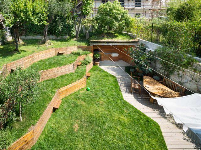 un jardin sur plusieurs niveaux pour une extension. Black Bedroom Furniture Sets. Home Design Ideas