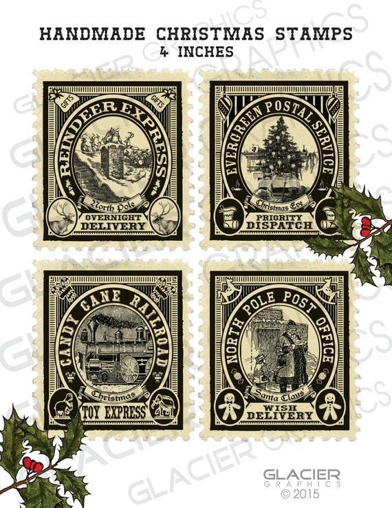 Christmas Stamps for Labels Tags Digital Download Printable DIY Vintage Style Clip Art Images Collage Sheet Vintage Christmas Printable