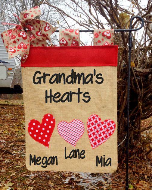 Valentine's Day garden flag for Nana, Mothers Day Garden Flag, Grandma's Hearts Flag, Heart Flag, Mimi's Yard Flag, Birthday Gift For Moms