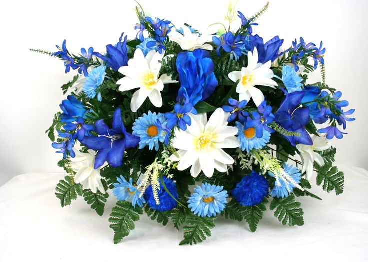 XL Father's Day Multi. Blue and White Flower Tombstone Saddle by Crazyboutdeco on Etsy