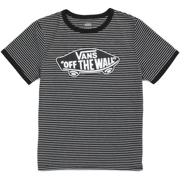 Vans Striped OTW Ringer Tee ($25) ❤ liked on Polyvore featuring tops, t-shirts, striped t shirt, tall tees, vans t shirt, stripe top and stripe tee
