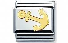 Nomination stainless steel and 18ct gold Anchor Classic Charm
