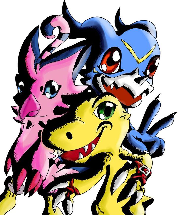 Agumon, Biyomon and Veemon by ~SparkusThunderbolt on deviantART