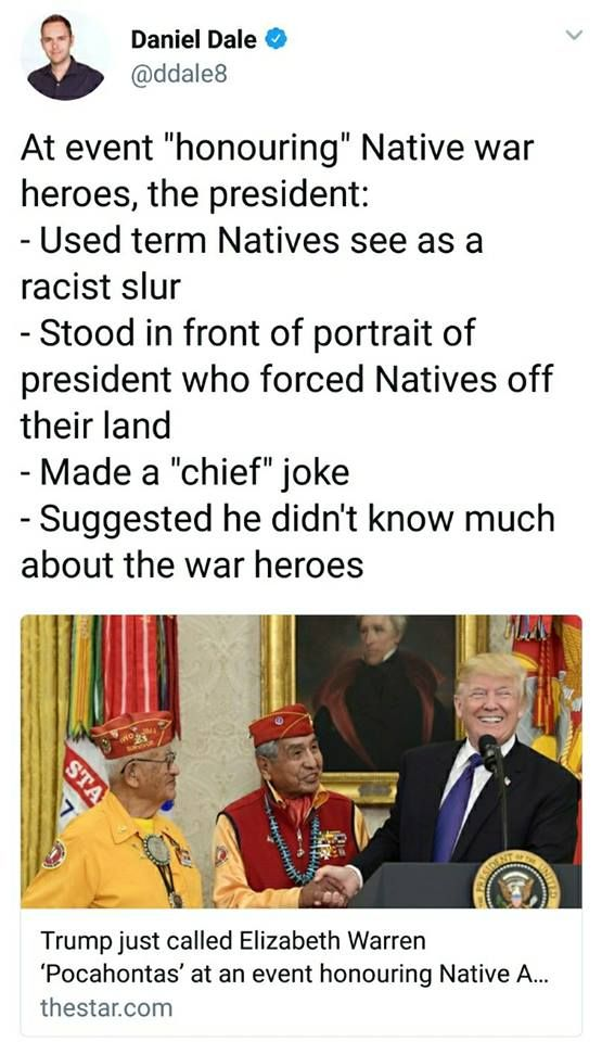 I feel so horrible for all natives, they shouldn't have to deal with this disgusting man.