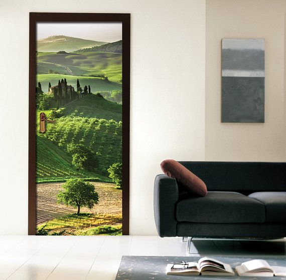 Wall decal door sticker italy countryside self adhesive for Poster mural 4 murs
