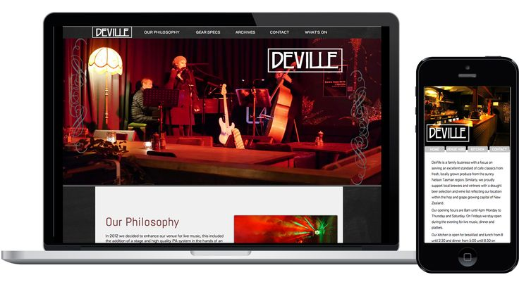 DeVille cafe needed a website to showcase their upcoming musical acts.