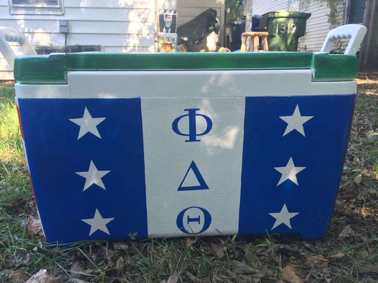 Phi delta theta flag painted cooler