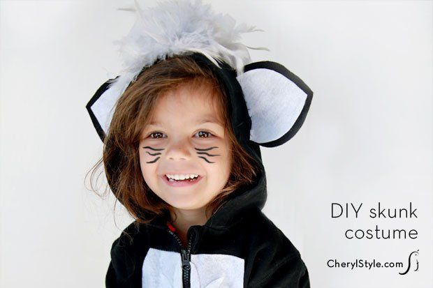 DIY hoodie skunk costume for Halloween. Make sure to get our #printable and made with @adtechadhesives  — CherylStyle