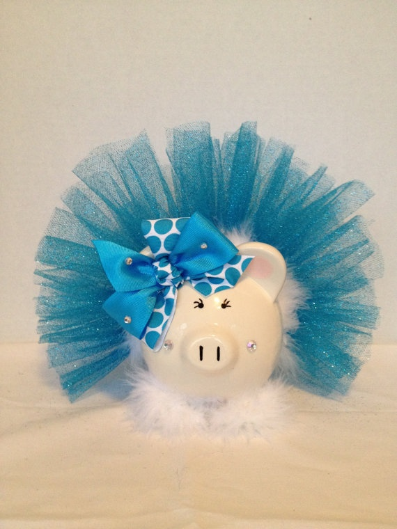 sparkle tutu piggy bank by Thislilpiggybank on Etsy, $22.00