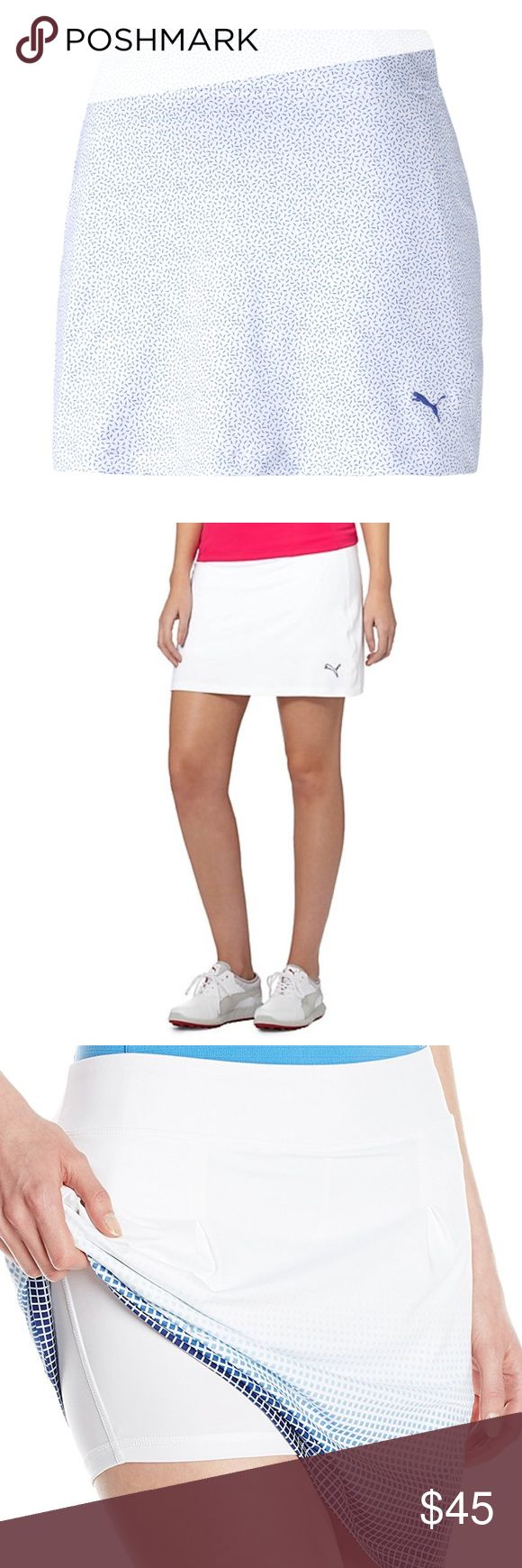 Puma glitch white and blue performance skort Brand new with tags. Size medium. Absolutely adorable and a great casual skort that can be worn in any activity, tennis, running, cycling, you name it. In the second picture you'll see this modeled in white. I added the third picture of this skort in a different pattern so you could see what it looks like with shorts underneath. Retails for $65! Puma glitch white and blue performance skort. Puma Shorts Skorts