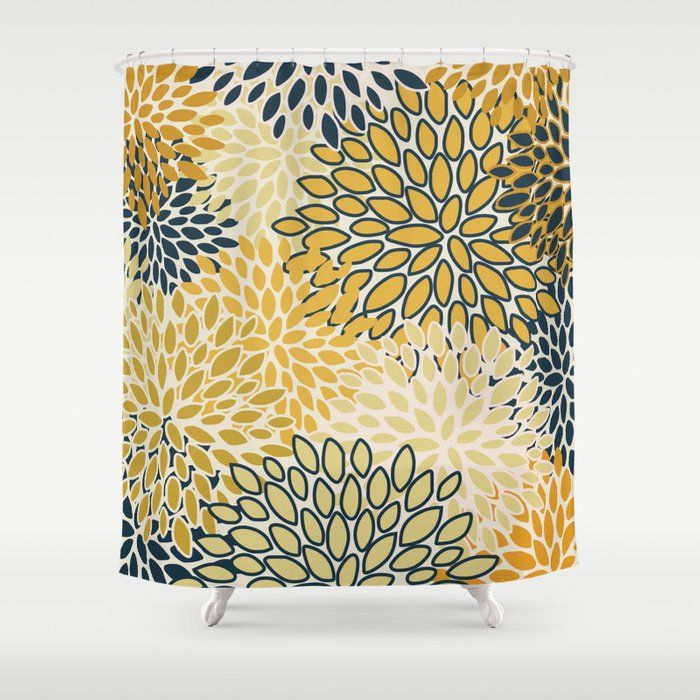 Buy Flower Pattern Abstract Navy Blue And Yellow Shower Curtain