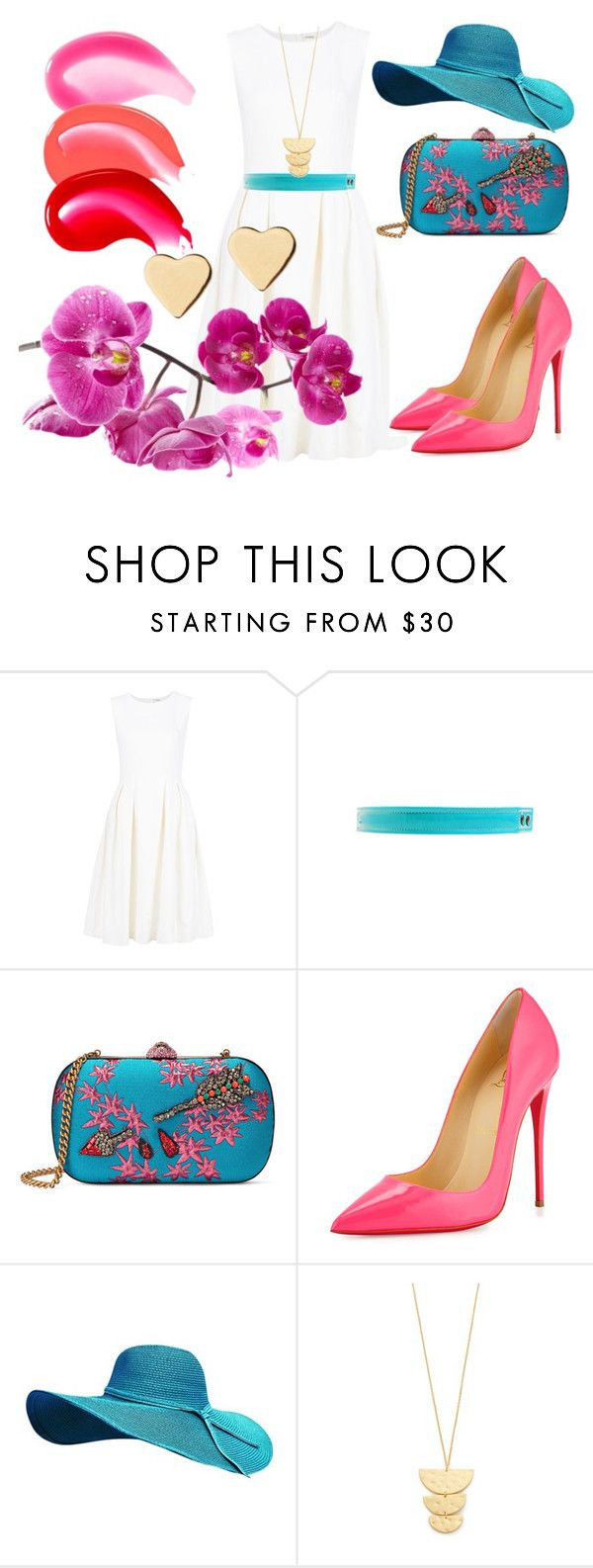 """summer day"" by slavulienka on Polyvore featuring ADAM, Lanvin, Gucci, Christian Louboutin, Gorjana and Lipsy"
