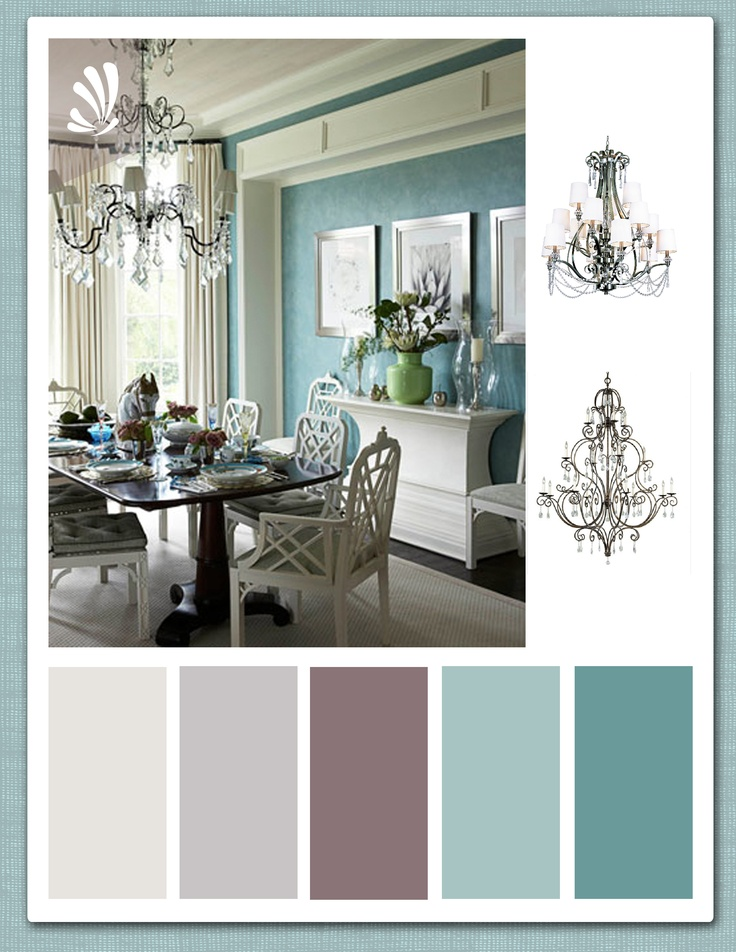 Teal plum and warm grey palette first 3colours for living for Duck egg dining room ideas