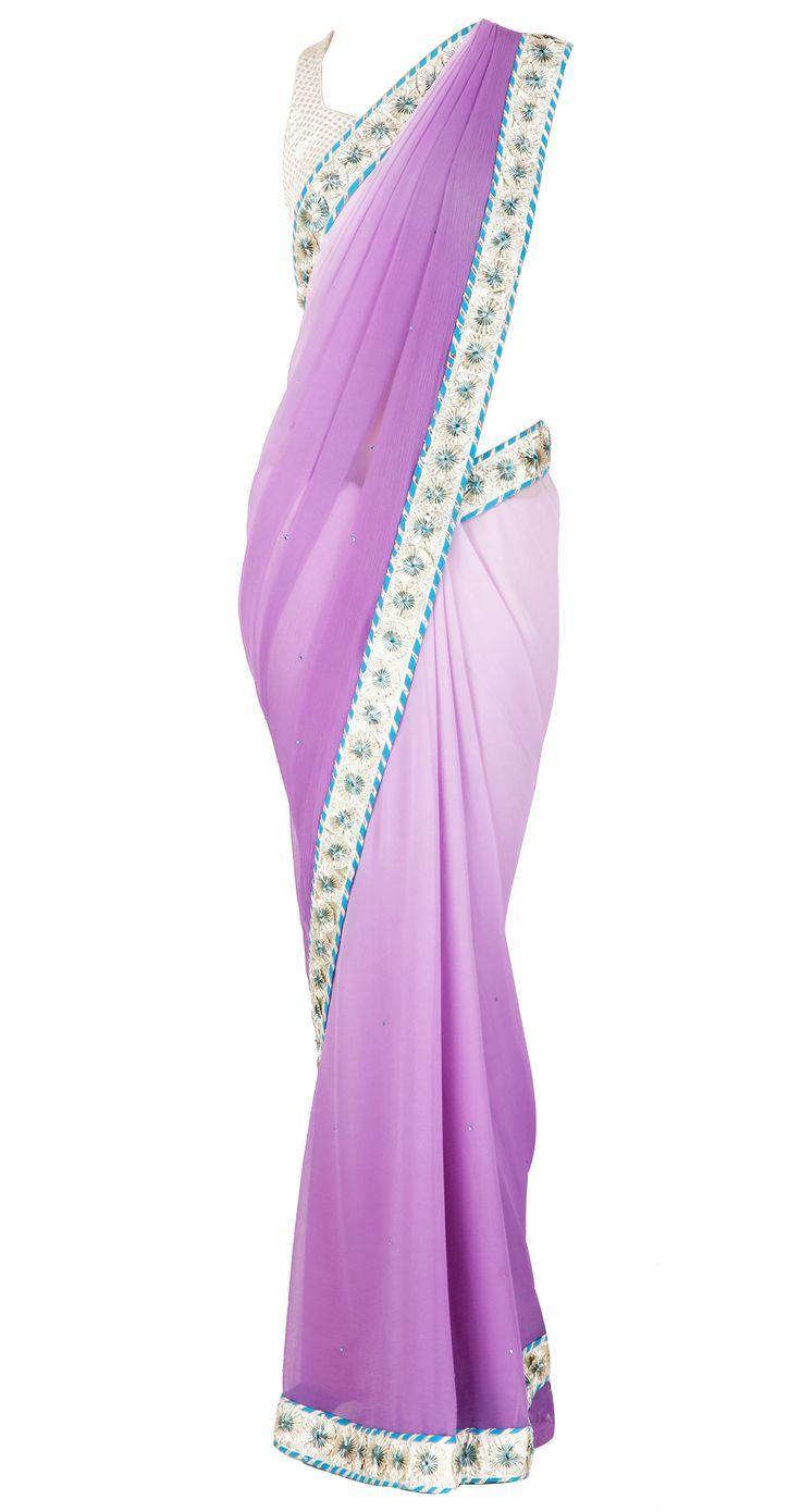 Ombre purple sari with gota work border and jaipuri finish by SHEHLA KHAN. Shop at https://www.perniaspopupshop.com/whats-new/shehla-khan-6