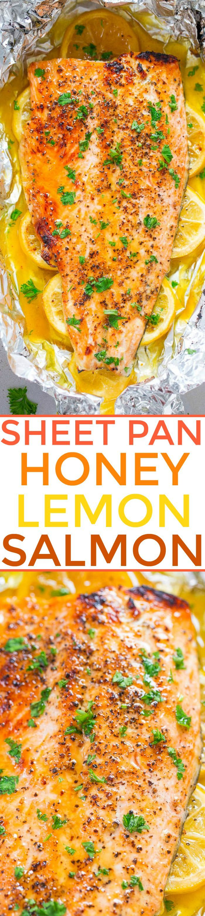 Sheet Pan Honey Lemon Salmon - Make salmon at home in 30 minutes that tastes BETTER than from a restaurant!! EASY, tender, and packed with FLAVOR from the honey and lemon butter!!