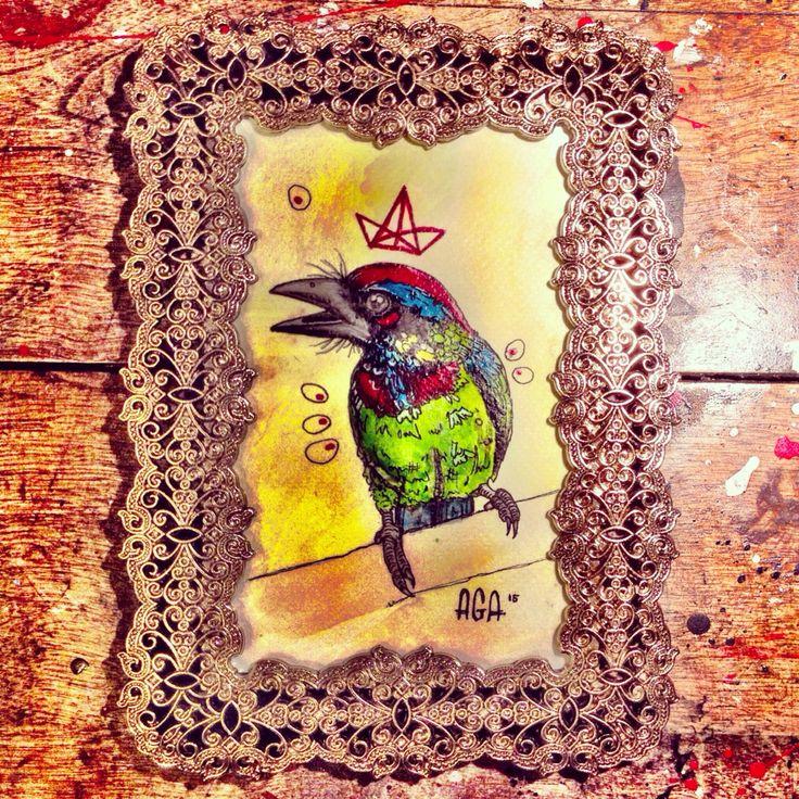 #AGA #agaartist #artist #art #work #watercolor #bird #crown #red #blue #green #paint