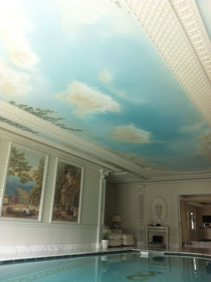 Painted sky ceiling over indoor pool Artist Manuela Palinginis