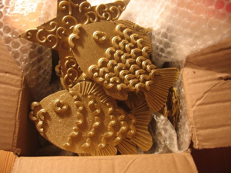 christmas fish - from cardboard and pasta