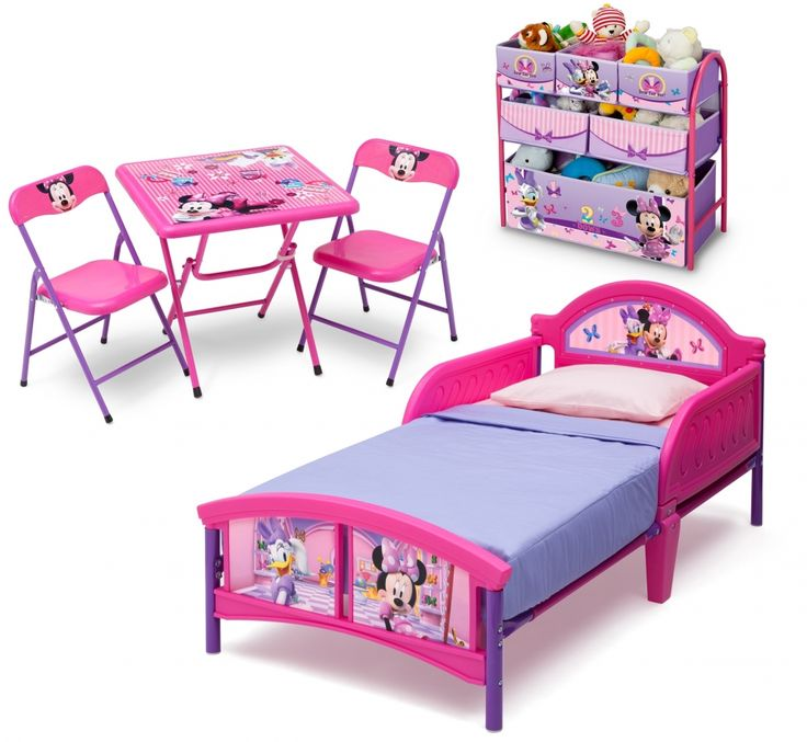 Mobilier pentru Copii DeltaChildren Set patut, organizator metalic si masuta cu doua scaunele Minnie Mouse