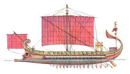 Side view, trireme, c. 5th century BCE