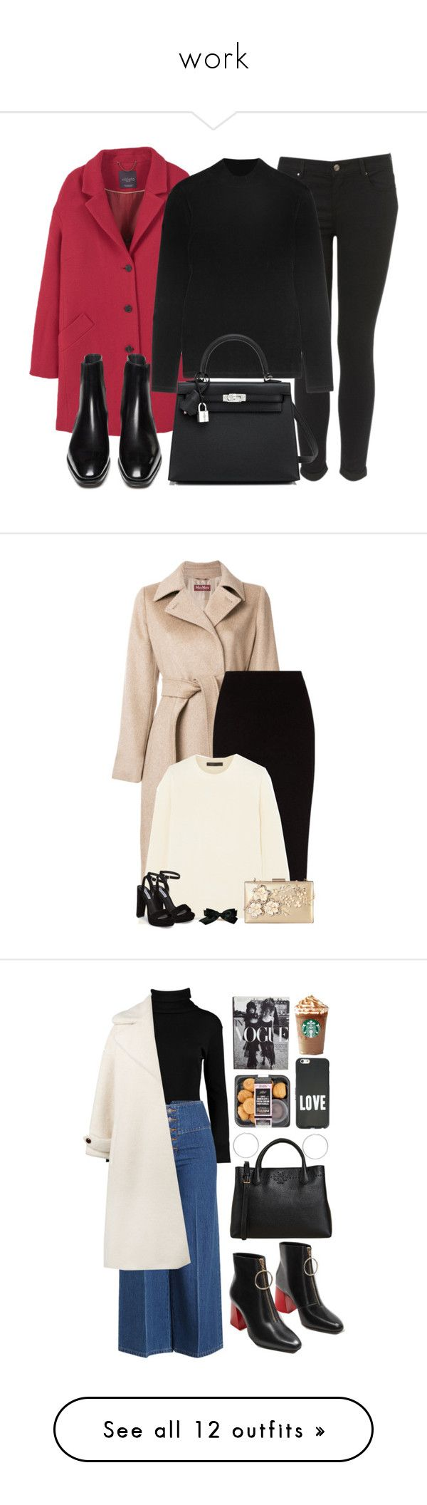 """""""work"""" by rezende-brunafr ❤ liked on Polyvore featuring Violeta by Mango, Topshop, Topshop Unique, Hermès, MaxMara, The Row, Rimen & Co., Steve Madden, Chanel and beoriginal"""
