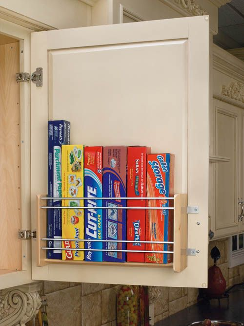 Cabinet door storage for rolls of foil, plastic wrap, etc.