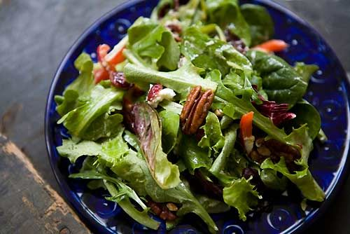 Mixed Green Salad with Pecans, Goat Cheese, and Honey Mustard Vinaigrette on Simply Recipes
