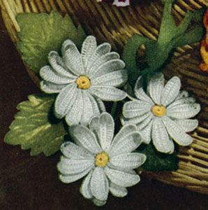 Daisy Corsage crochet pattern from Crochet Gay & Gifty Ideas, originally published by American Thread Company, Star No. 80, from 1951.