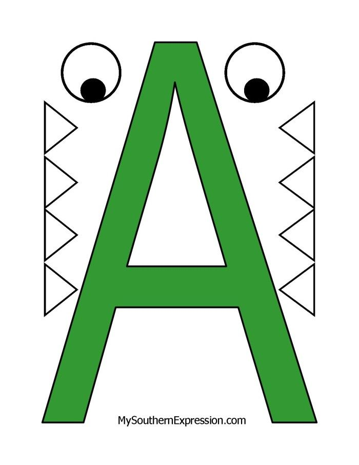 Letter of the Week for preschool aged children. Letter A for Alligator. Free Printable Template