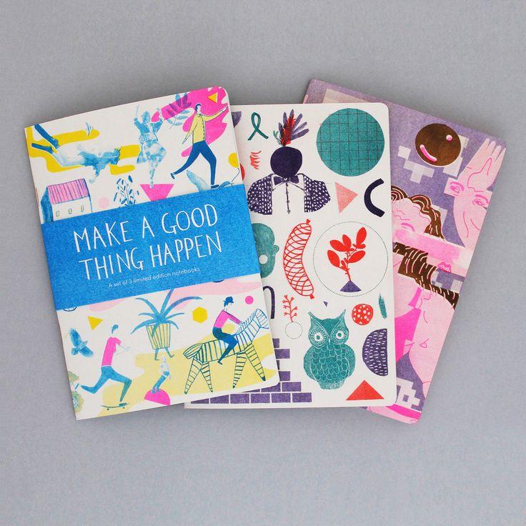 Illustrated set of 3 limited edition notebooks #illustration #wrapmagazine