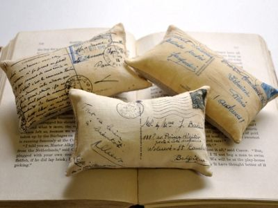 Frosty Mint: 3 French Postcard Mini Pillows by Lisa Wine Studios