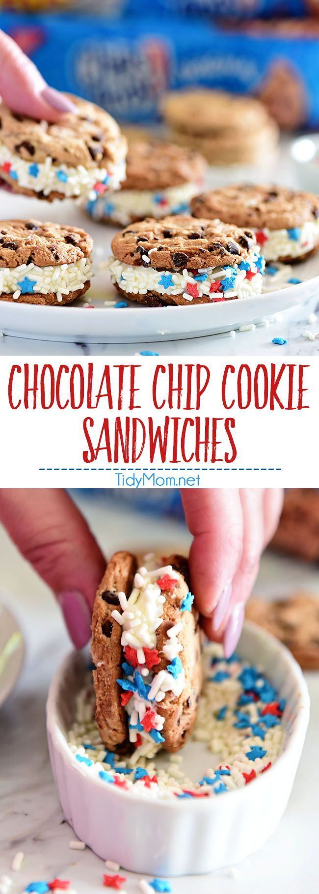 Easy Chocolate Chip Cookie Sandwich. Chips Ahoy Cookies, canned frosting and sprinkles are all you need for a quick fun party treat they will all love! Details and recipe for No-Bake Raspberry Cheesecake with Chocolate Chip Cookie Crust at TidyMom.net