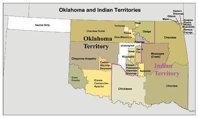 Oklahoma and Indian Territory map, circa 1890s, created using Census Bureau Data. Wikipedia