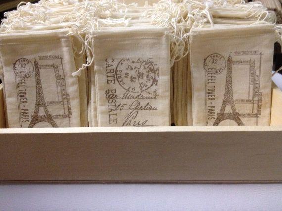 Wedding Favor Muslin Bags : Wedding Favor Muslin Bags 3x5 Set of 50 Paris Eiffel Tower Post Card ...