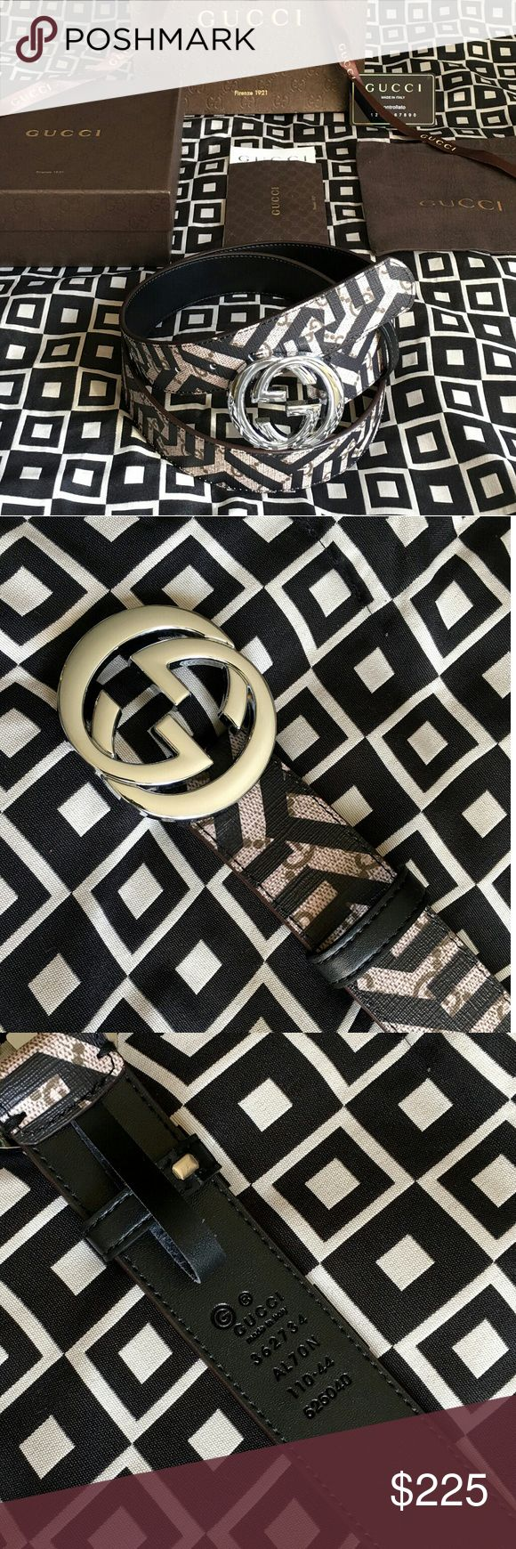 """Gucci GG Caleido Belt!!! Gucci GG Caleido Belt With Silver G Buckle!!!  Brand New!!!  Size Available - 32"""", 34"""", 36"""", 38"""", 40"""", 42"""", 44""""!!!  Includes Gift Box, Dust Bag, Authenticity Card, Ribbon, Etc!!!  Great Gift Idea!!!  Last Available!!!  Check My Listings For Other Great Items!!!             Ignore: Gucci gg monogram casual dress belts men's women's guccissma leather monogram web tiger bee embossed panther wool cable knit blooms supreme print angry cat ufo dragon studded snake double g…"""