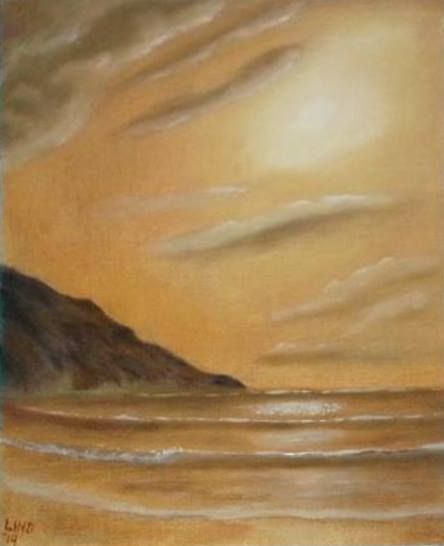 """Golden Sunset"" An experiment with home made oil paint. Watch it painted here: http://youtu.be/Yqez4mTKZu8"
