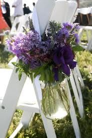 The first, middle, and last rows of the ceremony aisle will be marked with hanging mason jars filled with fresh lavender, rosemary, and green seeded eucalyptus.
