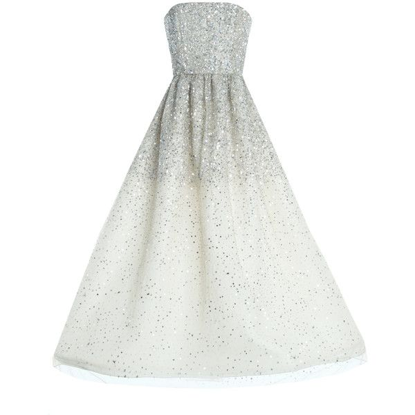 Alice + Olivia Milly Strapless Ball Gown ($779) ❤ liked on Polyvore featuring dresses, gowns, vestidos, long dresses, party gowns, long strapless dress, sequin party dresses and long sequin dress