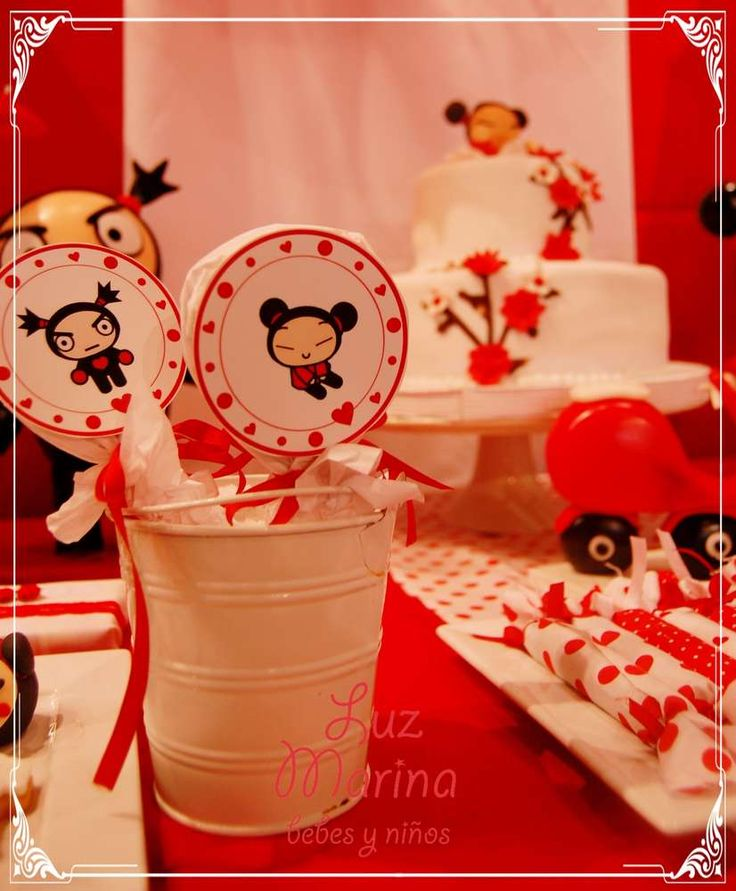 Pucca birthday party lollipops! See more party ideas at CatchMyParty.com!