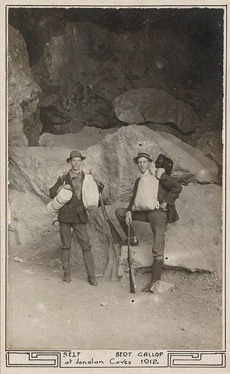 Miles Dunphy and Bert Gallop pictured in 1912. Their equipment was still common among walkers in the 1920s, not to mention swagmen. Their basic load-carrying system is identical to that of the traditional Australian swagman - A bedding roll in which blankets, a sheet, coat, socks and underwear are rolled. Food is carried in a dilly bag hung off the swag strap to act as a counterbalance. In this photo we see a couple of rifles. The Dunphys and their bushwalking companions lived off the land…